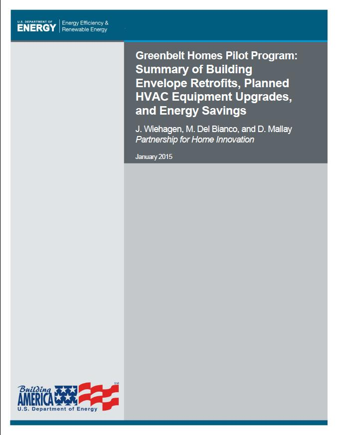 Greenbelt Homes Energy Retrofit Pilot Program Final Technical Report